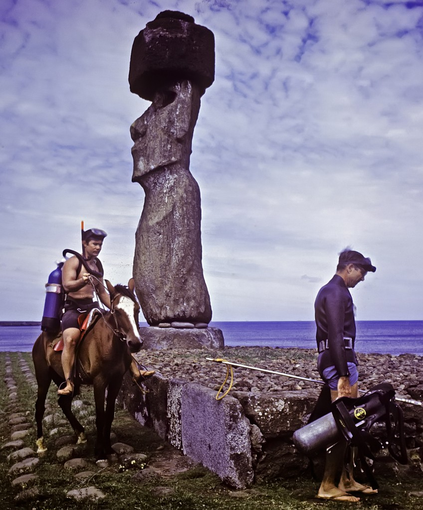 "Dr. ""Jack"" Randall, Gerry's mentor and post-doc Gerry (on horseback) on Gerrys first field trip to Easter Island"