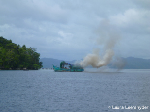 Explosive charges sink ship