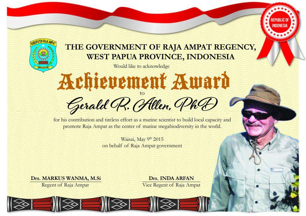 Piagam penghargaan Gerry Allend Fin