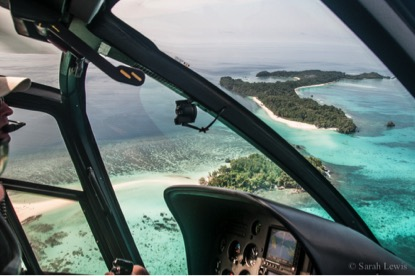 View of some of the stunning Auri Islands from the True North helicopter.