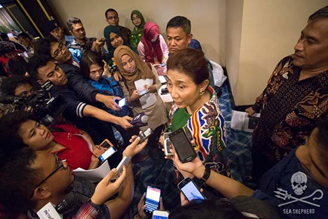 Susi Pudjiastuti, Indonesia's Maritime and Fisheries Minister at press conference announcing the ship's sinking!
